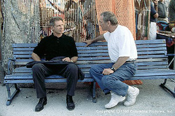 Sydney Pollack Harrison Ford and director  on the set of Random Hearts - 10/99