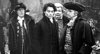 Michael Gambon , Johnny Depp, Richard Griffiths and Ian McDiarmid in Paramount's Sleepy Hollow - 11/99