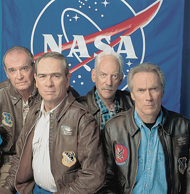 James Garner , Tommy Lee Jones, Donald Sutherland and Clint Eastwood in Warner Brothers' Space Cowboys - 2000