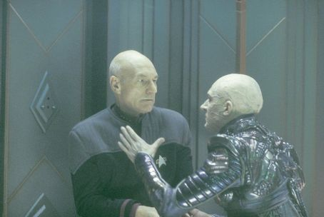 Patrick Stewart  as Captain Jean-Luc Picard and Tom Hardy as Shinzon in Paramount's Star Trek: Nemesis - 2002