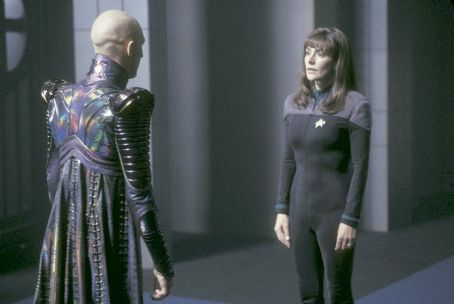Marina Sirtis Tom Hardy as Shinzon and  as Counselor Deanna Troi in Paramount's Star Trek: Nemesis - 2002