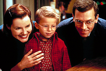 Stuart Little Geena Davis, Jonathan Lipnicki and Hugh Laurie in Columbia's  - 12/99