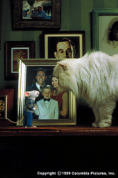 Stuart Little Feeling upstaged by the new rodent in the family, Snowbell (voiced by Nathan Lane) faces off with Stuart (voiced by Michael J. Fox) in the Columbia Pictures presentation, STUART LITTLE - 12/99