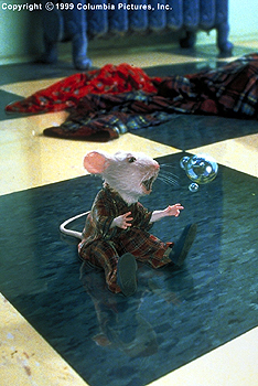 Stuart Little Stuart (voiced by Michael J. Fox) takes a moment to recover after being rescued from an accidental dip in the Littles' washing machine in the Columbia Pictures presentation, STUART LITTLE - 12/99