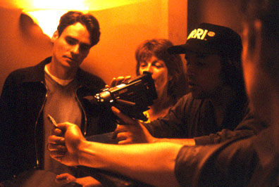 Robert Sean Leonard  and director Richard Linklater on the set of Lions Gate's Tape - 2001