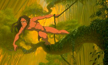 Tarzan  makes his way through the jungle in Disney's  - 1999