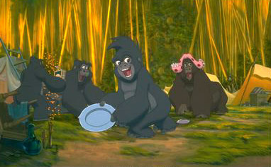 Terk and her friends trash the human campsite in Disney's Tarzan - 1999