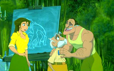 Tarzan Jane watches her father, Professor Porter, being reassured by Clayton in Disney's  - 1999