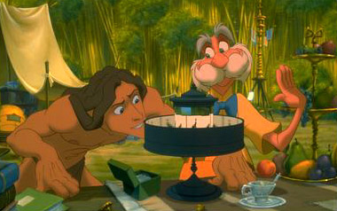 Tarzan  is fascinated by the modern gadgetry that Professor Porter has brought with him in Disney's  - 1999