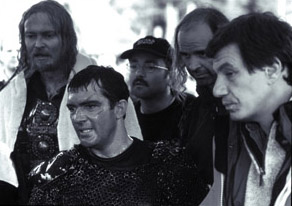Dennis Storhøi Dennis Storhoi, Antonio Banderas and director John McTiernan on the set of The 13th Warrior