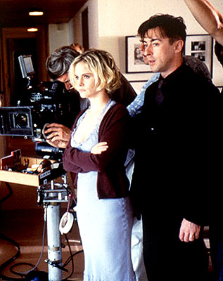 Alan Cumming Directors Jennifer Jason Leigh and  on the set of Fine Line's The Anniversary Party - 2001