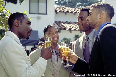 D.L. Hughley L to R: Celebrating friendship, Jackson (Morris Chestnut), Derrick (), Brian (Bill Bellamy) and Terry (Shemar Moore) make a toast to their future in Gary Hardwick's The Brothers from Screen Gems - 2001