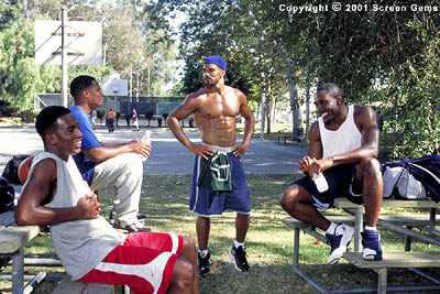 D.L. Hughley L to R: Always making time for 'the brothers,' Brian (Bill Bellamy), Derrick (), Terry (Shemar Moore) and Jackson (Morris Chestnut) discuss love, sex and friendship during a game of basketball in Gary Hardwick's The Brothers from S