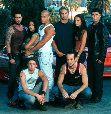 Paul Walker and Jordana Brewster Back Row: Matt Schulze, Michelle Rodriguez, Vin Diesel, Paul Walker, Jordana Brewster, Rick Yune; Front: Chad Lindberg and Johnny Strong are Universal's The Fast and The Furious - 2001