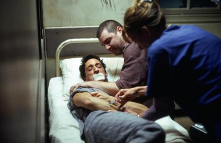 Mackenzie Phillips Adrien Brody as Jack Starks, Brendon Coyle as Damon and  as Nurse Harding in John Maybury's THE JACKET, a Warner Independent Pictures release.  Photo credit: Paul Chedlow.  © 2004 VIP Medienfonds 2/VIP Medienfonds 3/MP Pictures.