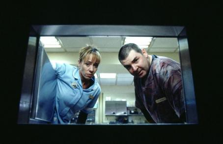 Mackenzie Phillips  is Nurse Harding and Brendon Coyle is Damon in John Maybury's THE JACKET, a Warner Independent Pictures release.  Photo credit: Paul Chedlow.  © 2004 VIP Medienfonds 2/VIP Medienfonds 3/MP Pictures.