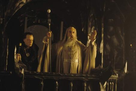 Christopher Lee Brad Dourif as Wormtongue and  as Saruman in New Line's The Lord of The Rings: The Two Towers - 2002