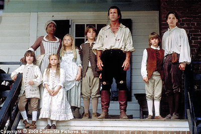 In the Columbia Pictures presentation The Patriot (2000), the Martin family - (from left to right) William (Logan Lerman), servant Abigale (Beatrice Bush), Susan (Skye McCole Bartusiak), Margaret (Mika Boorem), Nathan (Trevor Morgan), Benjamin (Mel Gibson
