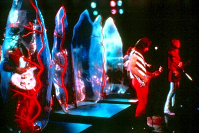 Michael McKean Derek Smalls (Harry Shearer) is stuck in the plastic bubble as Nigel Tufnel (Christopher Guest) and David St. Hubbins () emerge for a performance in This Is Spinal Tap - 1984, re-released by MGM in 2000