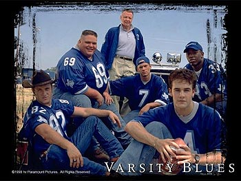 Varsity Blues Scott Caan, Ron Lester, Jon Voight, Paul Walker, James Van Der Beek and Eliel Swinton in