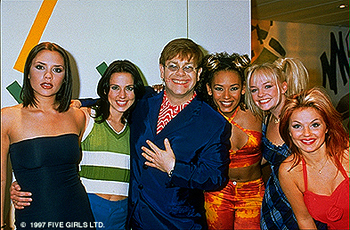 Spice Girls Elton John with Posh, Sporty, Scary, Baby and Ginger of The  in Spice World