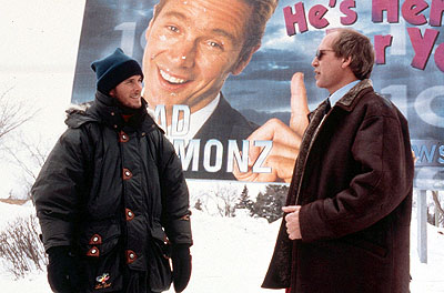 Chevy Chase Director Chris Koch and  on the set of Paramount's Snow Day - 2000