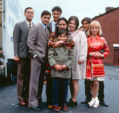 Chris Bisson From left to right: Emil Marwa, Raji James, , Archie Panjabi, Jordan Routledge (front), Ruth Jones, Jimi Mistry and Emma Rydal in Miramax's East Is East - 2000