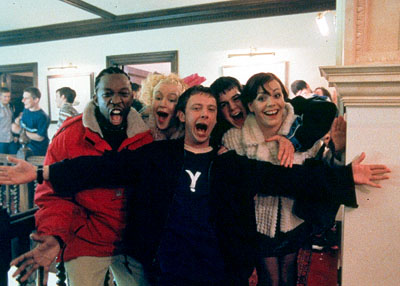 John Simm Shaun Parkes, Lorraine Pilkington, , Danny Dyer and Nicola Reynolds in Miramax's Human Traffic - 2000
