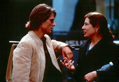 Mission: Impossible II Tom Cruise and producer Paula Wagner on the set of Paramount's Mission Impossible 2 - 2000