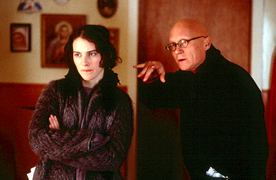Liane Balaban  with director Allan Moyle on the set of Odeon's New Waterford Girl - 2000