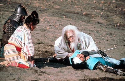 Ran Great Lord Hidetora (Tatsuya Nakadai) laments the loss of his slain son Saburo (Daisuke Ryu) in Akira Kurosawa's  - 1985, re-released by Winstar in 2000