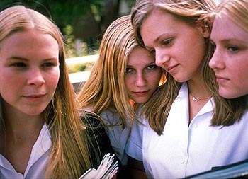 The Virgin Suicides (Left to right) Leslie Hayman stars as Therese Lisbon, Kirsten Dunst stars as Lux Lisbon, A.J. Cook stars as Mary Lisbon, and Chelse Swain stars as Bonnie Lisbon in Paramount Classics'  - 2000