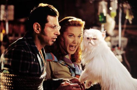 Elizabeth Perkins Jeff Goldblum and  are captured by Tinkles (Sean Hayes) in Warner Brothers' Cats and Dogs - 2001