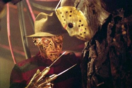 "Jason Voorhees (left to right) Robert Englund as ""Freddy Krueger"" and Ken Kirzinger as ""Jason"" in New Line Cinema's upcoming Freddy Vs. Jason."