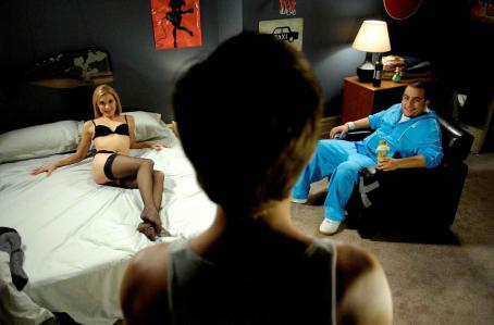 Sonja Bennett  as Mia and Ennis Esmer as Gord in Young People Fucking.