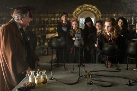 Hermione Granger (L-r, foreground) JIM BROADBENT as Professor Horace Slughorn and EMMA WATSON as  in Warner Bros. Pictures' fantasy 'Harry Potter and the Half-Blood Prince. Photo by Jaap Buitendijk. ©2008 Warner Bros. Entertainment Inc. - Harry Pot