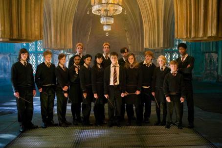 Hermione Granger (L-r) RYAN NELSON as Slightly Creepy Boy, NICK SHRIM as Somewhat Doubtful Boy, BONNIE WRIGHT as Ginny Weasley, SHEFALI CHOWDHURY as Parvati Patil, OLIVER PHELPS as George Weasley, AFSHAN AZAD as Padma Patil, KATIE LEUNG as Cho Chang, JAMES PHELPS as Fred
