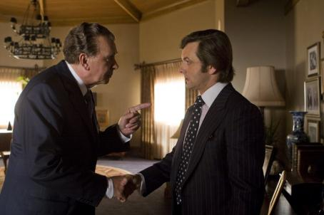 Frank Langella (L to R) Disgraced former president Richard Nixon (FRANK LANGELLA) faces off against jet-setting TV personality David Frost (MICHAEL SHEEN) in a new drama from Oscar®-winning director Ron Howard—Frost/Nixon. Credits: Ralph Nelson