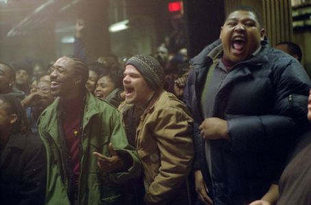 Evan Jones DJ Iz (De'Angelo Wilson), Cheddar Bob () and Sol (Omar Benson Miller) in Universal's 8 Mile - 2002