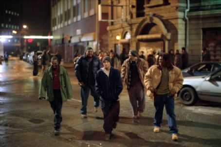 De'Angelo Wilson De'Angelo Wilson, Omar Benson Miller, Eminem, Evan Jones and Mekhi Phifer in Universal's 8 Mile - 2002