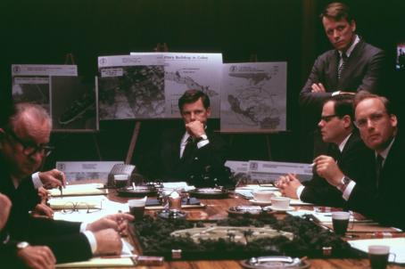 Thirteen Days (clockwise from center) Bruce Greenwood (John F. Kennedy), Steven Culp (Robert F. Kennedy), Tim Kelleher (Ted Soresnsen) and Frank Wood (McGeorge Bundy) and Walter Adrian (Lyndon B. Johnson) in New Line's  - 2000
