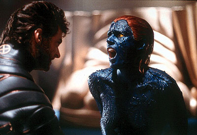 X-Men Hugh Jackman as Wolverine squares off against Rebecca Romijn Stamos as Mystique in 20th Century Fox's  - 2000