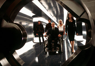 Storm Logan (Hugh Jackman), Scott (James Marsden), Charles (Patrick Stewart),  (Halle Berry) and Jean (Famke Janssen) in 20th Century Fox's X-Men - 2000