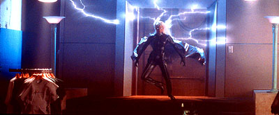 Storm Halle Berry as  unleashes the fury of her mutant power - the ability to control the weather - in 20th Century Fox's X-Men - 2000
