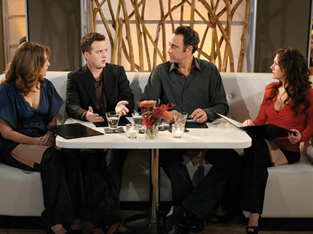 Brad Garrett L to R: Kat Foster, Eddie Kaye Thomas,  and Joely Fisher in the scene of Til' Death (TV Series)