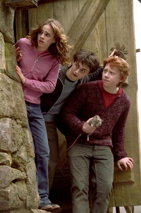 Hermione Granger Emma Watson as , Daniel Radcliffe as Harry Potter and Rupert Grint as Ron Weasley in Warner Bros. Pictures' 'Harry Potter and the Prisoner of Azkaban.'