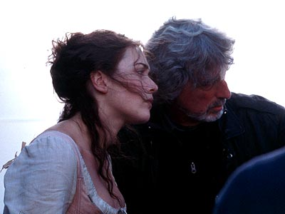 Quills Kate Winslet and director Philip Kaufman on the set of Fox Searchlight's  - 2000