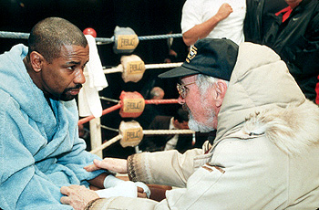 The Hurricane Denzel Washington and director Norman Jewison on the set of Universal's  - 1999