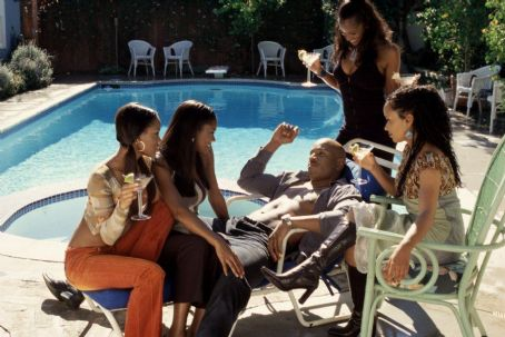 Meagan Good (far left), Gabrielle Union (left), LL Cool J (center), Robinne Lee (right) and Essence Atkins (far right) in Focus' Deliver Us From Eva - 2003