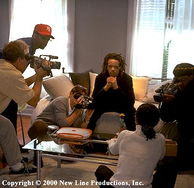 Spike Lee Director  and Savion Glover on the set of New Line's Bamboozled - 2000